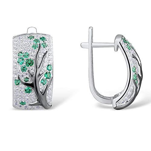 JINGM Cristal Vert Arbre Boucles d'oreilles Complet Strass Plum Branche Boucles d'oreilles pour Les Femmes Fine Bijoux Cadeau