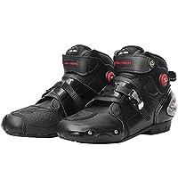 RENHE オートバイブーツ バイク用靴 メンズバイクブーツ プロテクトスポーツブーツ ライディングシューズ ブラック EU42=26.0cm