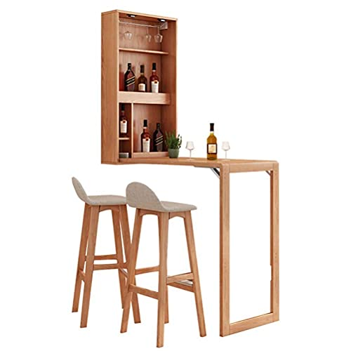 FFYN Folding Table and 2 Chairs Set, Wall Mounted Wood Desk with Wine Cabinet and Artboard, Heavy Load Wall Mount Desk, Stable and Easy to Install