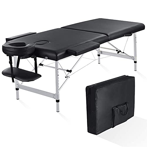 Folding Massage Table Professional Portable Massage Bed 2 Fold Extra Wide 84'' Carrying Bag & Accessories Lash Bed Aluminum Frame for Home Use