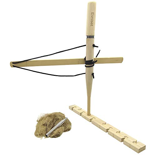 Evniset Primitive Wood Survival Practice Friction Fire Tool -Bow Drill Kit Fire Starter, Outdoor...