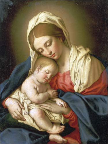 Posterlounge Lienzo 100 x 130 cm: The Madonna with Child de Il Sassoferrato/Bridgeman Images - Cuadro Terminado, Cuadro sobre Bastidor, lámina terminada sobre Lienzo auténtico, impresión en Lienzo