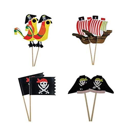 thematys Kuchen Flaggen Fahnen Set im Piraten Design - 24 Teile 4 Verschiedene Fähnchen - Torten Dekoration perfekt für Geburtstage