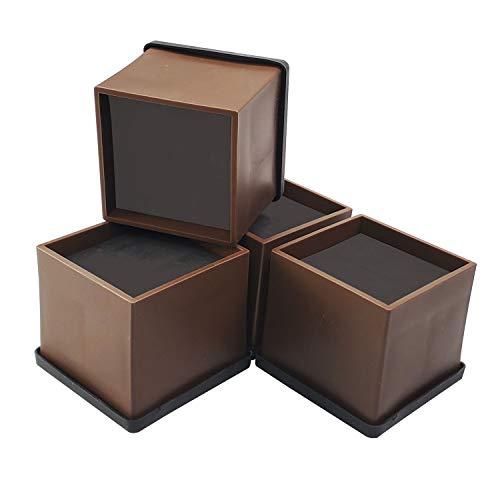 aspeike Betterhöhung, Möbelheber, 4 Stück, extra hoch, für Sofa, Couch, Tisch, Stuhl – robust und kratzfest (5,1 cm braun)