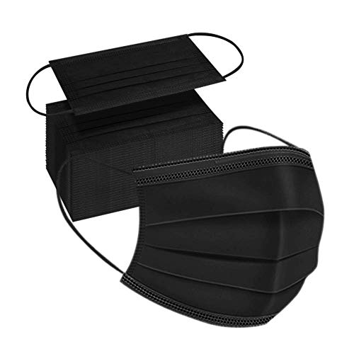 100pcs Adult Black Disposable Face Masks 3 Layer Non-Woven Masks with Soft Elastic Earloop