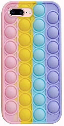 Herbests Custodia Compatibile con iPhone 7 Plus/8 Plus Cover Bubble Stress Relief Custodia Morbida in Silicone Pop Sensory Fidget Toy Cover TPU Bumper Antiurto Antistress Case, Arcobaleno