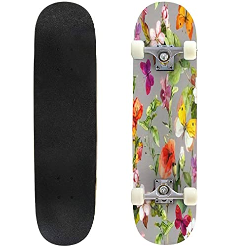 """Meadow Flowers Grass and Butterflies Vintage Repeating Floral Pattern Skateboard 31""""x8"""" Double-Warped Skateboards Outdoor Street Sports Skateboard for Beginners Professionals Cool Adult Teen Gifts"""