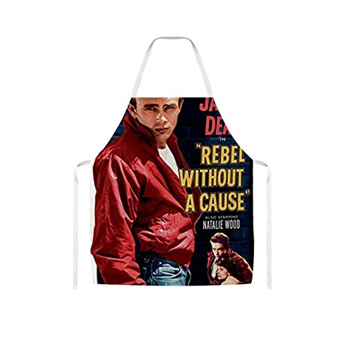 Apron Bib Apron Waterproof Oil-proof Cooking Kitchen for Women Men James Dean Rebel Movie Poster Bib Apron for Barbecue
