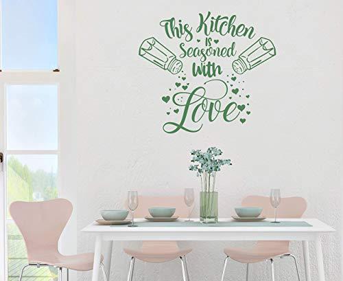Wandtattoo Wandaufkleber - Spruch Küche ***This kitchen is seasoned with love/Diese Küche ist gewürzt mit Liebe / 03*** - (Größen.- und Farbauswahl)