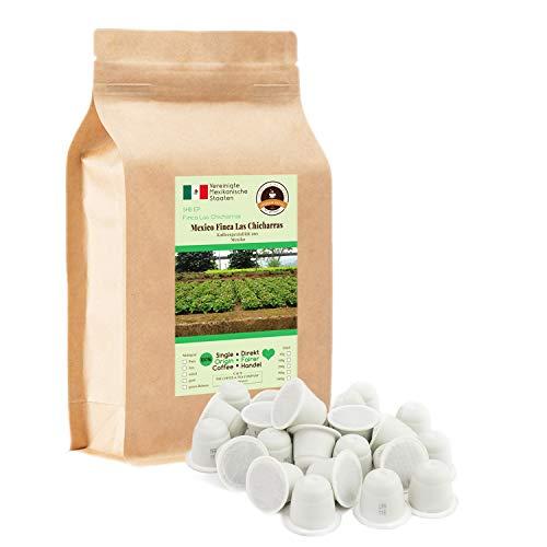 Kaffee Globetrotter - 100 Kompostierbare Kaffeekapseln - Nespresso®-Kompatibel - Kaffee Mit Herz - Mexico Finca Las Chicharras- Spitzenkaffee Fair Gehandelt Zur Unterstützung Sozialer Projekte