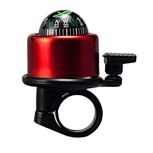 CLISPEED Fahrradklingel MTB Glocke Mit Kompass Glocke Klingel Hupe Loud Clear Sicherheitswarnung für Erwachsene Kinder Fahrrad Mountainbike Zubehör (Rot)