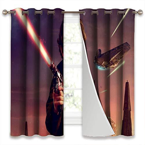 SSKJTC Cortinas para oscurecer la habitación, cortinas para ventana Han Solo Alden Star Wars película para habitación de niños de 140 x 160 cm