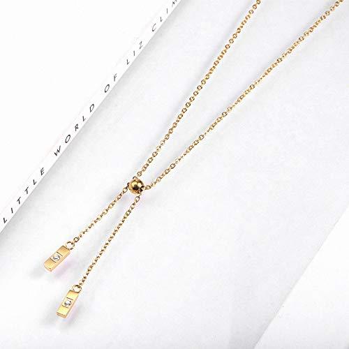 ZYLL Collier de Sushi Minimaliste à la Mode Simple, Accessoires en Acier au Titane, chaîne de Chandail incrustée de Diamants pour Femmes plaqué Or 18 carats