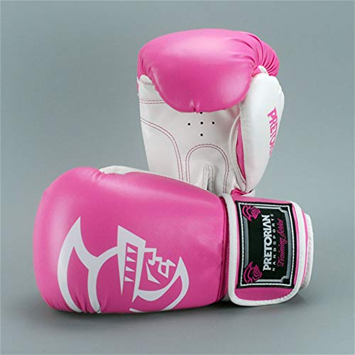 JJEB Sportausrüstung Boxhandschuhe Taekwondo Training Muay Thai Karate Anzug,Pink and White,14oz