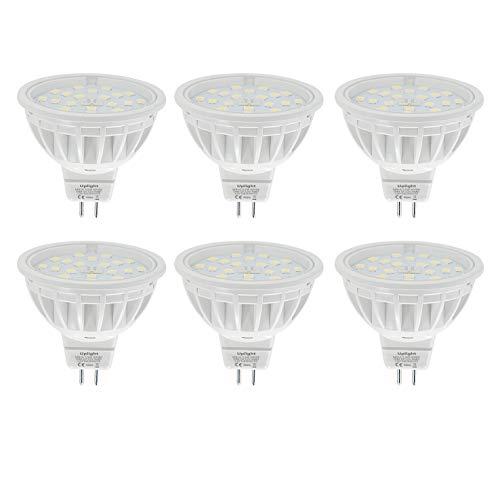 DC12V Ersetzt 60W Halogen Lampe Dimmbar MR16 LED Lampen Gu5.3 Strahler kalt Weiss 6000K 600LM RA85 120°Abstrahlwinkel,6er Pack.
