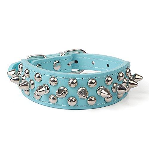 Avenpets Collar de perro de cuero con pinchos y tachuelas para actividades diarias, azul, XXL: (cuello de 50,8 a 55,8 cm)