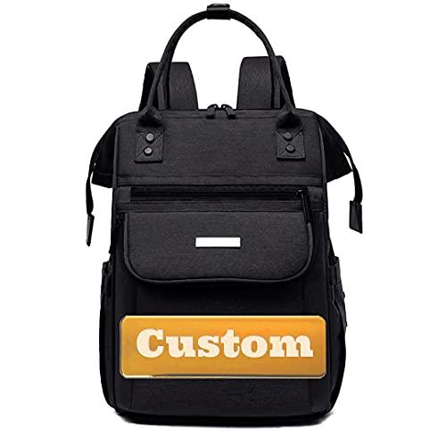 JINTD Personalisierter benutzerdefinierter Name drucken Neugeborene Windel-Tasche für Mädchen mit Wickelkissen (Color : Black, Size : One size)