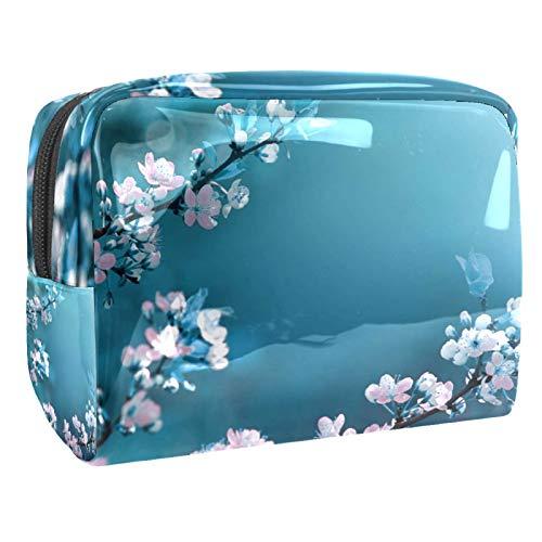Bolsas de Maquillaje Estuche multifunción para Organizador de Bolsas de cosméticos de Viaje portátil Floreciente de Primavera Floral Albaricoque con Neceser con Cremallera para Mujer
