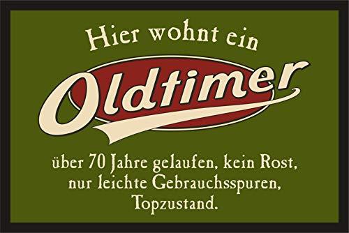 RAHMENLOS Das Geschenk zum 70. Geburtstag: Oldtimer 70 Jahre - Fußmatte Türmatte Schmutzfangmatte