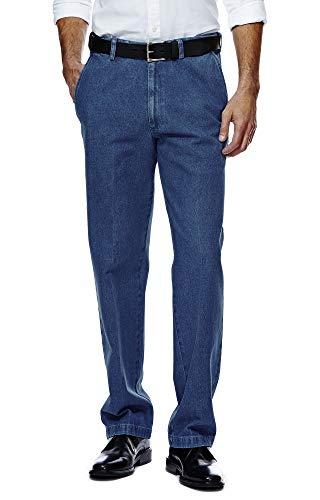 Pembrook Men's Elastic Waist Casual Pants Twill Pants with Zipper and Button - L - Denim