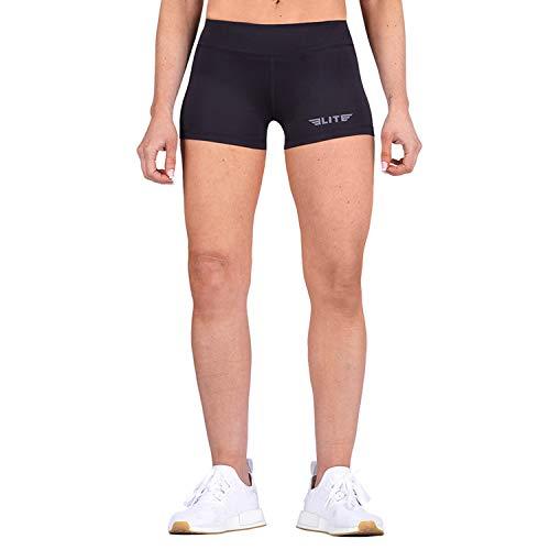 Elite Sports New Item Women Compression Base Layer Workout Jiu Jitsu MMA Shorts (Black, X-Large)