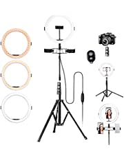 """K&F Concept 10"""" Ring Light with 58"""" Tripod Stand [3-Light Mode] [11-Level Brightness] Dimmable LED Ring light with Remote Control Designed for Streaming, Makeup, Selfie Photography by K&F Concept"""