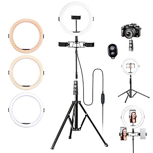 K&F Concept-11 Pulgada Anillo de Luz 202cm con Tripode/para 3 moviles/3 Modos de Color/2700K a 5500K/CRI ≥ 95, Iluminación Aro de Luz LED 360 para TIKTOK Maquillaje Fotografía Selfie Youtube Vídeo