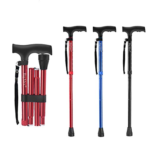 BigAlex Folding Cane,Adjustable Collapsible Cane,Foldable Walking Cane for Men,Women,Lightweight,Adjustable,Portable Hand Walking Stick - Balancing Mobility Aid - Sleek, Comfortable T Handles(Red)