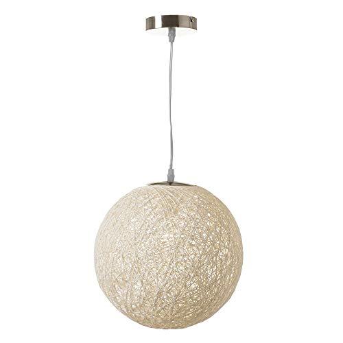 Lámpara de techo de diseño bola de fibra y metal blanca de 30x30 cm