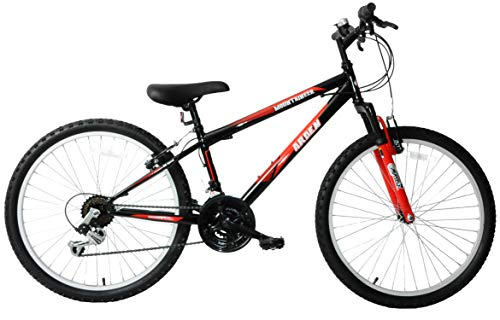Arden Mountaineer 24' Wheel Boys Junior Kids Front Suspension Mountain Bike 21 Speed Red Age 8+