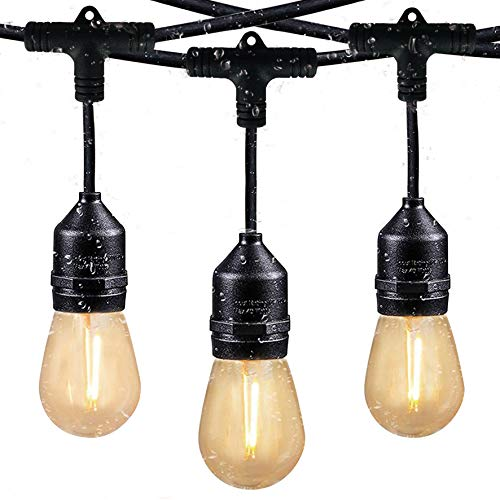 Svater Guirnaldas Luces Exterior Luz de Cadena 128Ft/39M IP65 Impermeable,38+2 LED Bombillas Guirnalda Luminosa para Fiesta Boda Jardín Decoración(blanco cálido)
