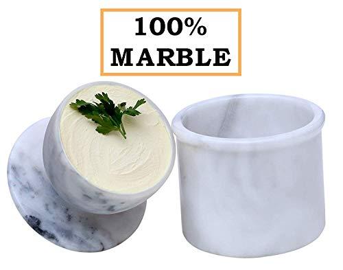 Radicaln Butter Schüssel Deckel Marmor Butter Lagerung Crock Keeper für die Küche - als Utensilien-Halter und Cold Cheese Deep Covered Geschirrglas Container Handmade Butter Holder Pot (White)
