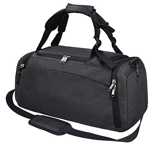 Gym Duffle Bag Waterproof Travel Weekender Bag for Men Women Duffel Bag Backpack with Shoes Compartment Overnight Bag 40L (Black)