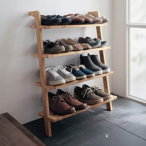 Trapezförmiges Schuhregal aus massivem Holz, vierlagiges Schuhregal, Regal, platzsparender Schuh Organisieren Sie europäische kreative Landeartikel, Rahmen, Wandtrapez Regal auf der Wand
