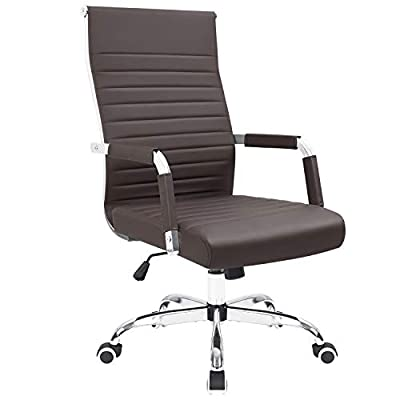 KaiMeng Ribbed Office Chair Mid Back Desk Chair Adjustable Conference Chair Swivel Task Chair Executive Chair