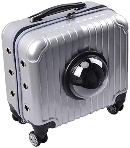 PULLEY Maleta para mascotas de 16 pulgadas, multifuncional, portátil, para mascotas, ruedas, bolsa de viaje, para aerolínea, rueda universal, capacidad máxima de 7,5 kg (color gris)