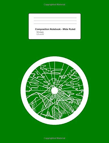 Composition Notebook - Wide Ruled: Mountain Bike Wheel Track Minimal Bicycle BMX Cyclist Gift - Green Blank Lined Exercise Book - Back To School Gift ... Teens, Boys, Girls - 7.5'x9.75' 100 pages