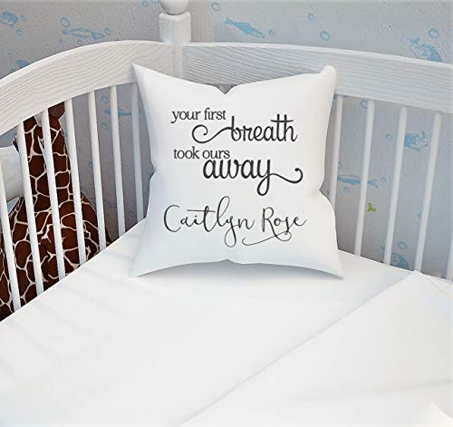 Lplpol New Baby Gift Personalized Pillow Cover, Your First Breath, New Baby Gift Personalized, New Baby Gift Unisex, Personalized Pillow Case, Cobalt, 24x24 inches