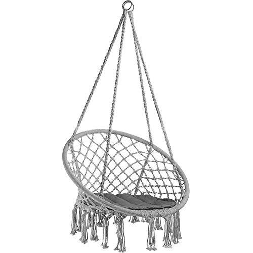 MROSW Columpio infantil de algodón y lino con cuerda tejida para colgar en el jardín, al aire libre, columpio interior, balcón, sala de estar