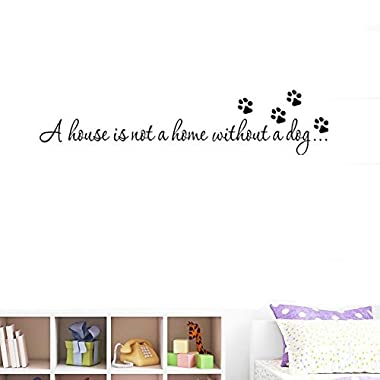 Amaonm 22x6  Black Vinyl Wall art Decals Quotes Saying  A house is not a home without a dog  Removable Home Walls Decorations Stickers Mural Paw Print Wall Stickers for Living Room Bedroom Kids Room