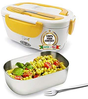 SPICE Amarillo inox Scaldavivande portatile Lunch Box con Forchetta e vaschetta estraibile in acciaio inox 1,5 litri 40