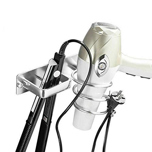ConPush Aluminium Fönhalter Föhn Halterung Chrom für Hotel Baderzimmer Wohnzimmer Barbershop Haartrocknerhalter 19,5 x 15 cm