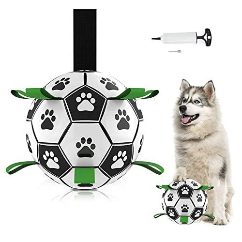 Hundespielzeug, Hundeballspielzeug, Fußball mit Greifflaschen, interaktives Hundespielzeug mit Ballpumpe und Nadel 6 Zoll langlebiges Hundespielzeug für kleine mittelgroße Hunde