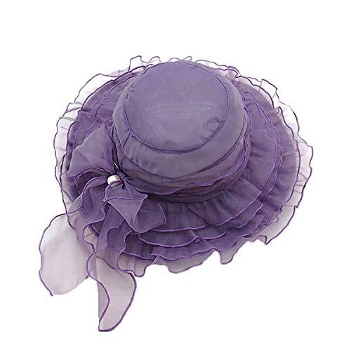 Greetuny Sombrero Mujer Boda/Fiesta/Iglesia Encantador Elegante Pamelas Anti-UV Organza Encaje Floral Sombrero ala Ancha (Morado)