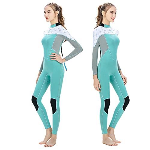 HWZZ Traje de buceo de una sola pieza de manga larga para mujer, 2 mm, antiultravioleta, traje de buceo húmedo, cálido, adecuado para surf y tiro submarino, verde, S