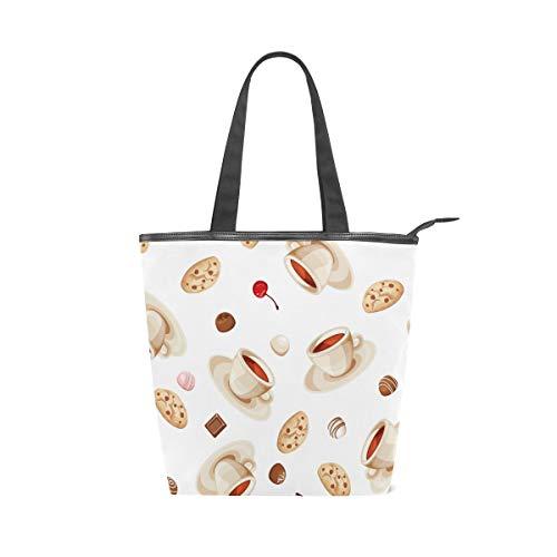Jeansame Canvas-Tasche Einkaufstasche mit Tragegriff und Schultertasche im Vintage-Stil, Kaffee, Brot, Tee, Schokolade