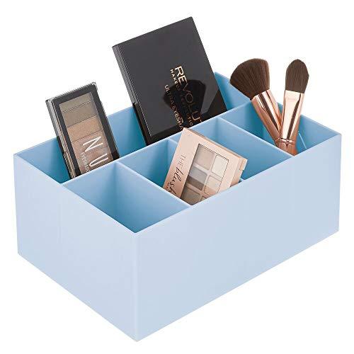 mDesign - Cosmetica-organizer - voor badkamer en keuken - voor kaptafel, wastafel en gootsteen - modern/met 5 compartimenten/BPA-vrij plastic - carolina blauw