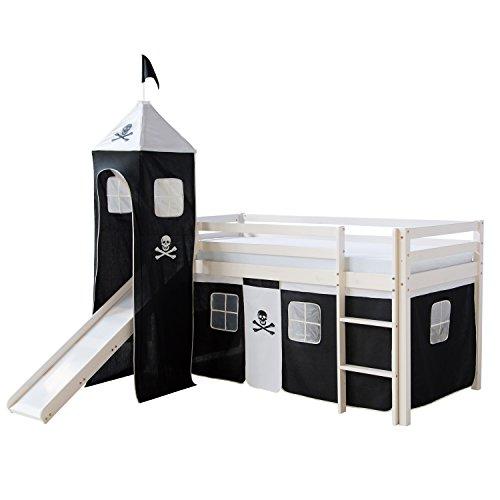 Homestyle4u 1550, Kinder Hochbett Mit Rutsche, Leiter, Turm, Vorhang Pirat Schwarz, Massivholz Kiefer Weiß, 90x200 cm