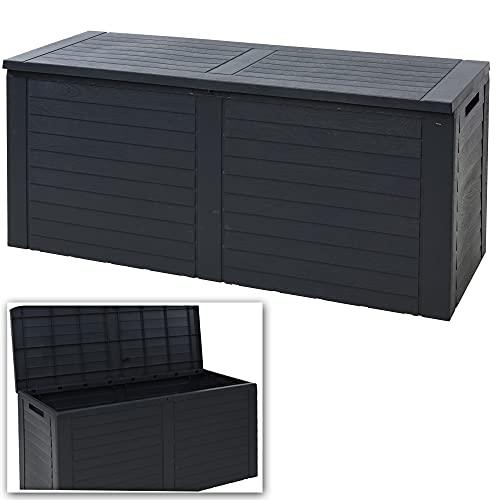 270L Large Black Outdoor Cargo Garden Storage Box Plastic Container Chest & Lid