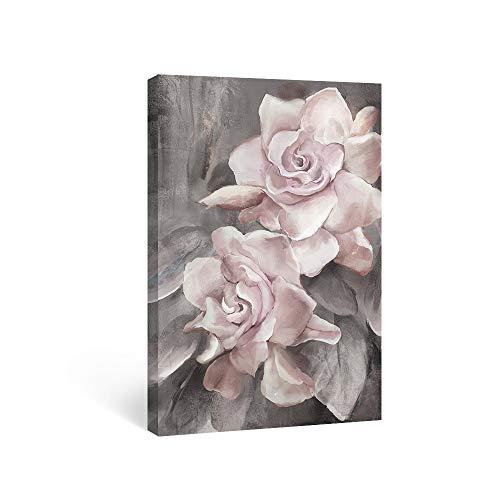 SUMGAR Lienzo Impreso Rosa y Gris con diseño de Flores Cuadros Florales Cuadros Modernos Obras de Arte enmarcadas para recámara baño Sala de Estar Comedor decoración de Pared 30 x 40 cm